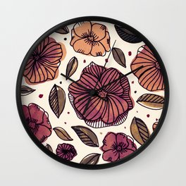 Watercolor and ink flowers - autumn Wall Clock