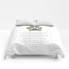 Rainbow Bridge Poem With Colorful Paw Print by Sharon Cummings Comforters