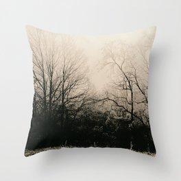 Frozen Dark Forest Throw Pillow
