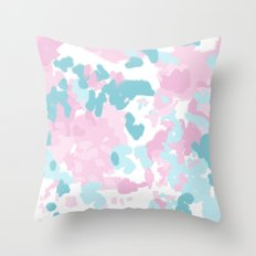 Cruz - abstract painting pastel pink and blue minimal modern decor for office home Throw Pillow
