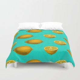 Lemon on Blue Duvet Cover