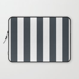 Arsenic grey - solid color - white vertical lines pattern Laptop Sleeve