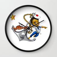 marine Wall Clocks featuring Marine by Andre auguste-charlery
