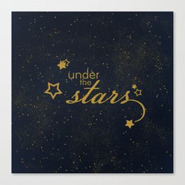 Under the stars- sparkling gold glitter night typography Canvas Print