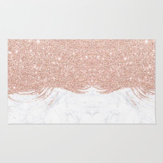 Trendy Modern Faux Glitter Rose Gold Brushstrokes White
