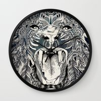 stickers Wall Clocks featuring Lion by Feline Zegers