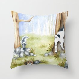 Hide and Seek Dog Original art Jack Russell Terrier JRT painting Throw Pillow