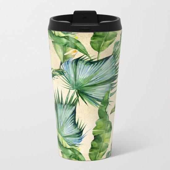 Green Tropics Leaves on Linen Metal Travel Mug