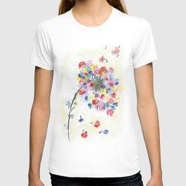 Dandelion watercolor illustration, rainbow colors, summer, free, painting T-shirt