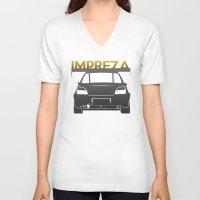 subaru V-neck T-shirts featuring Subaru Impreza by Vehicle
