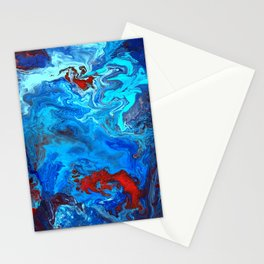 Red and Blue lava Melt Stationery Cards