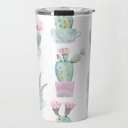 Simply Echeveria Cactus in Pastel Cactus Green and Pink Travel Mug
