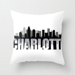 Charlotte Silhouette Skyline Throw Pillow