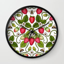 Strawberries & Honey Bees - Spring/Summer Pattern Wall Clock