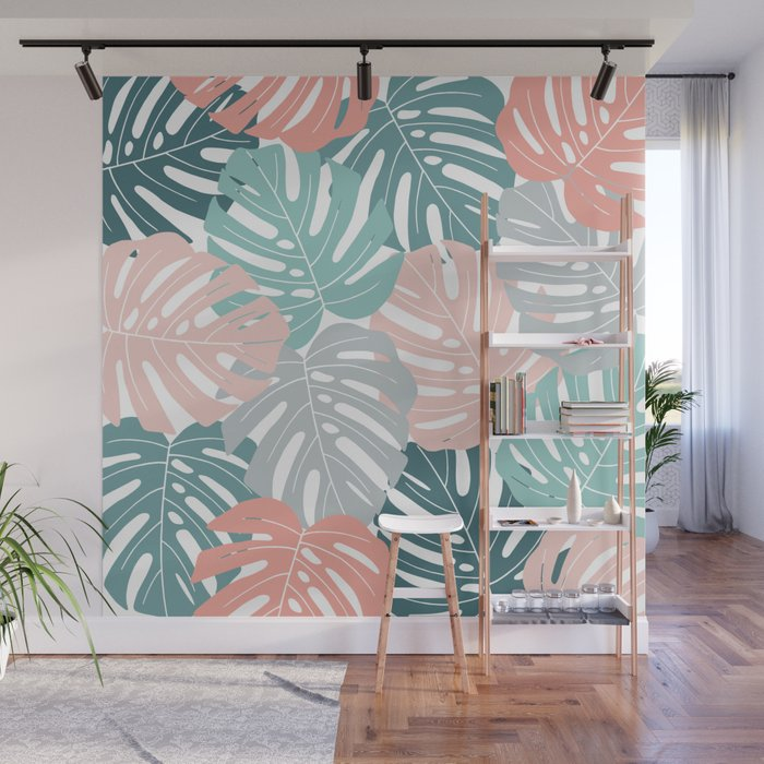 Tropical Leaves Monstera Deliciosa Wall Mural By Madareli Society6 Polish your personal project or design with these monstera leaf transparent png images, make it even more personalized and more attractive. society6