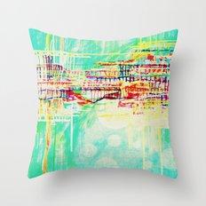futuristic world in turquoise Throw Pillow