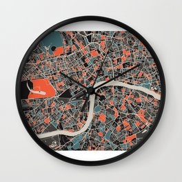 London Multicoloured Print Wall Clock