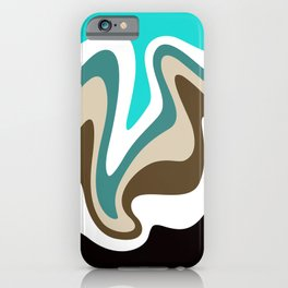 Liquid Mountain Abstract // Teal, Turquoise, Raw Umber, Khaki Tan, Black and White iPhone Case