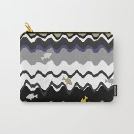 Black And White Under Water Waves With Fish Carry-All Pouch