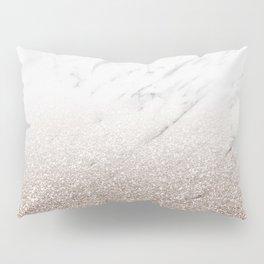 Glitter ombre - white marble & rose gold glitter Pillow Sham