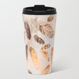 Autumn Feathers watercolor pattern Travel Mug