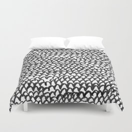 Hand painted monochrome waves pattern Duvet Cover