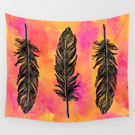 Watercolor feathers in a row - hot pink & orange & black Wall Tapestry