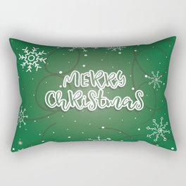 Happy holiday, Christmas sign with snow flake and christmas decoration Rectangular Pillow