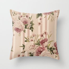 Flowers and Stripes Two Throw Pillow