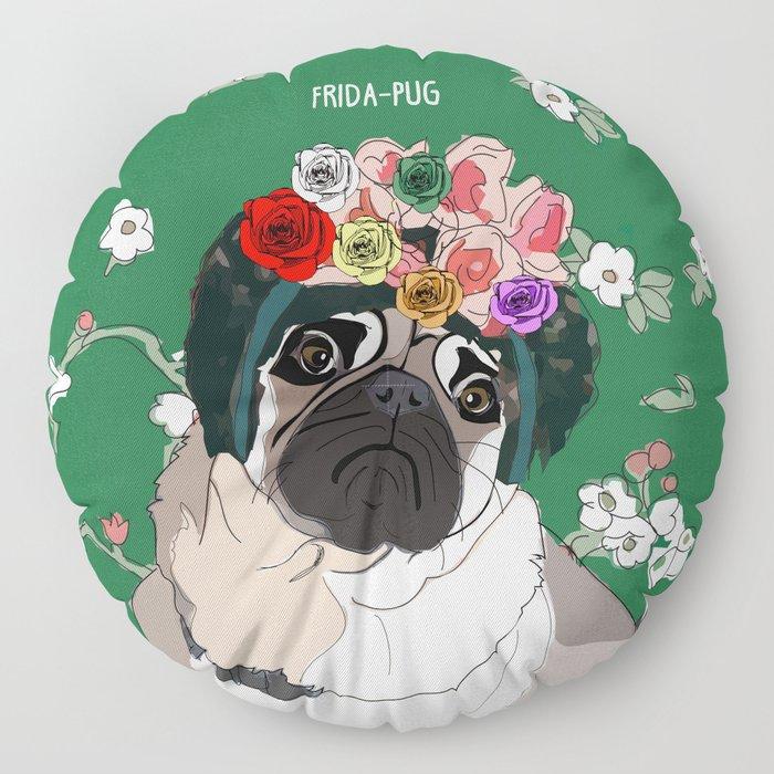 Frida-Pug Floor Pillow