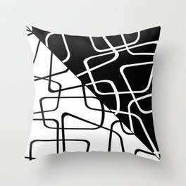 Mid Century Reflections - Black and white abstract Throw Pillow