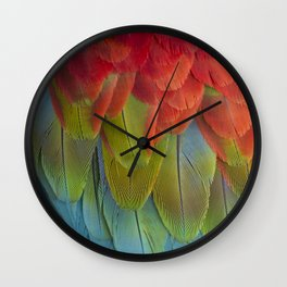 Macaw Feathers. Wall Clock