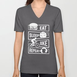 Eat Sleep Bike Repeat - Bicycle Racing Cycling Unisex V-Neck