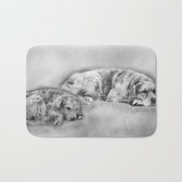 Golden Retriever young and old Bath Mat