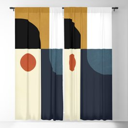 mid century abstract shapes fall winter 4 Blackout Curtain