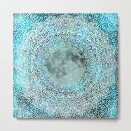 Lunar Magic Flower Of Life Blue & White Moon Mandala Metal Print