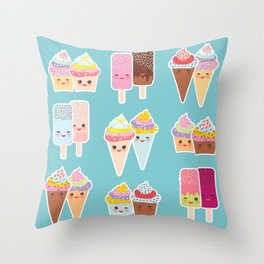 Kawaii cupcakes, ice cream in waffle cones, ice lolly Throw Pillow