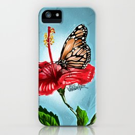 Butterfly on flower 2 iPhone Case