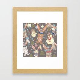 6)Christmas cute illustration with bunny and snowmen. Winter design illustration Framed Art Print