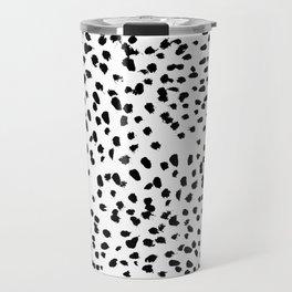 Nadia - Black and White, Animal Print, Dalmatian Spot, Spots, Dots, BW Travel Mug