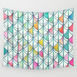 Pencil & Paint Fish Scale Cutout Pattern - white, teal, yellow & pink Wall Tapestry