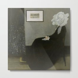 Whistler's Mother - Mr. Bean Metal Print