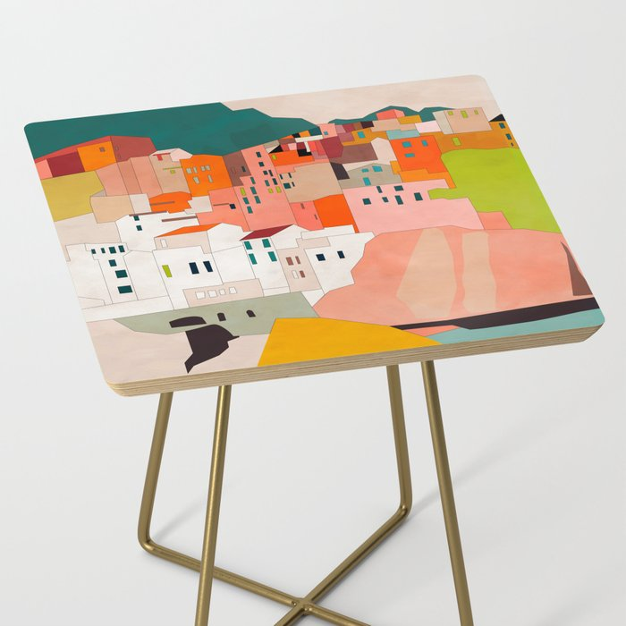 italy coast houses minimal abstract painting Side Table