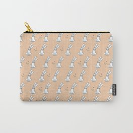 Cute Bunny with Flowers Light Orange Print Carry-All Pouch
