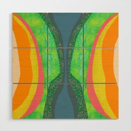 Shapes and Layers no.25 - Abstract painting Blue, Green, pink, yellow orange Wood Wall Art