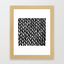 Hand Knitted Black on White Framed Art Print
