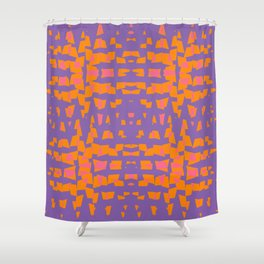 Orange And Pink On Violet Abstract Shower Curtain