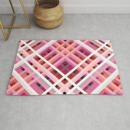 Rarog - Symmetric Pink Line Art Grid Rug