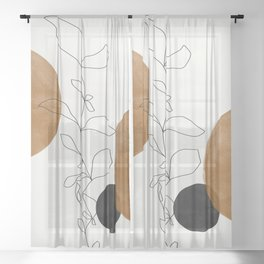 Abstract Plant Sheer Curtain