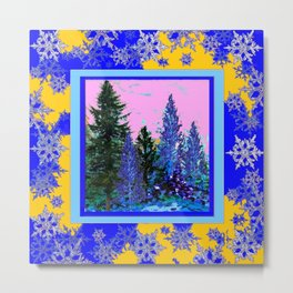 YELLOW-BLUE WINTER SNOWFLAKES  FOREST TREE  ART Metal Print